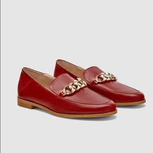 NWT. Zara Red Flat Leather Loafers. Size 7,5.